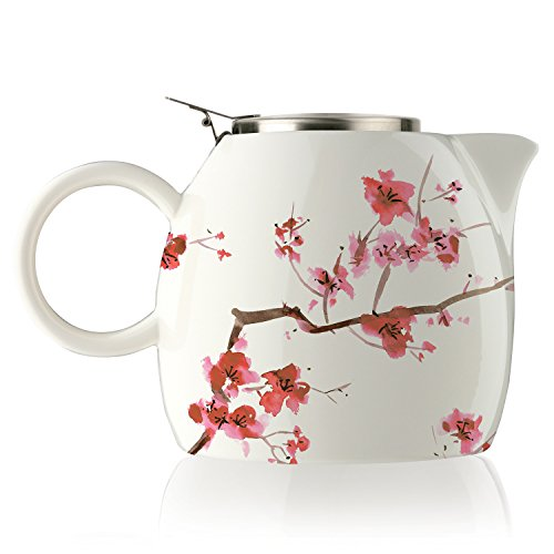 Tea Forte Pugg Ceramic Teapot Infuser Set with Loose Lea Tea Steeping Basket and Lid, Cherry Blossoms