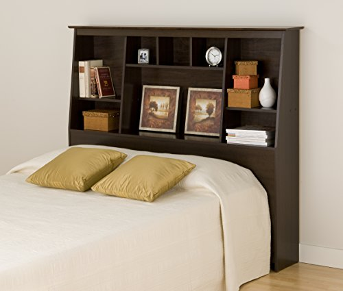 Prepac Tall Slant-Back Bookcase Headboard, Espresso, Full/Queen