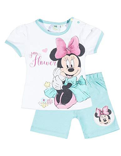 Minnie Ensemble Short et T-Shirt bébé Fille Blanc/Bleu de 3 à 24mois - Blanc/Bleu, 12 Mois
