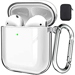 Black Full-Body Rugged Protective Cover Shock Proof Case Men Women with Keychain for Apple Airpods 2 /& 1 Valkit AirPods Case