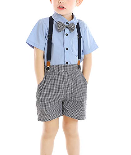 Toddler Littl Baby Boy Gentleman Set with Dress Shirt Bow Tie Suspender and Shorts 3PC Set Blue 3T
