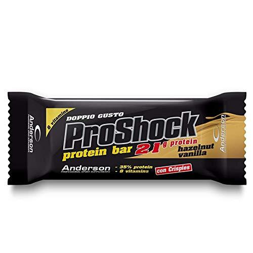 Anderson Proshock - 24 Barrette Proteiche da 60 g con 21g di Proteine Whey e 8 Vitamine - Gusto Vaniglia e Nocciola - Confezione Grande Formato Risparmio