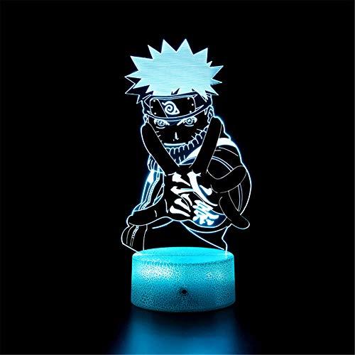 Uzumaki Naruto - Lámpara de ilusión LED 3D con control remoto con función tenue 4 modos intermitentes, decoración de dormitorio infantil, regalos de cumpleaños personalizados para niño