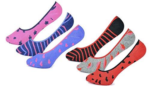 RJM 6 Paar Damen Cotton Rich-unsichtbare Socken/Liner mit Silikon-Unterstützung