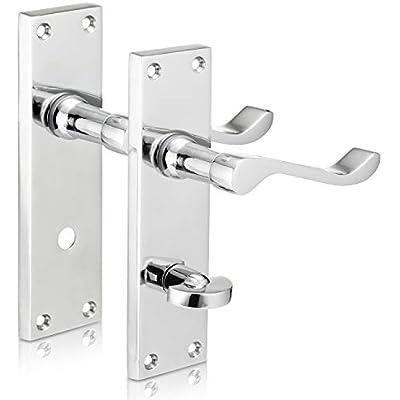 6 x Scroll Polished Chrome Door Handle Latch Set 1 x Scroll PC Bathroom Set