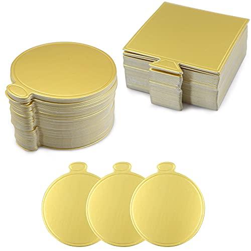Base para tartas, base de cartón, base para tartas, mousse, tabla para tartas, accesorios para hornear, dorados, redondosy espacios, juego de herramientas para decoración de pasteles (100 unidades)