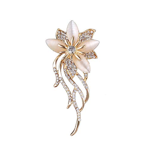 xinyawl Broche tendance en pierre de lune et fleur pour femme - Bijou de luxe avec zircon - Accessoire pour robe et manteau