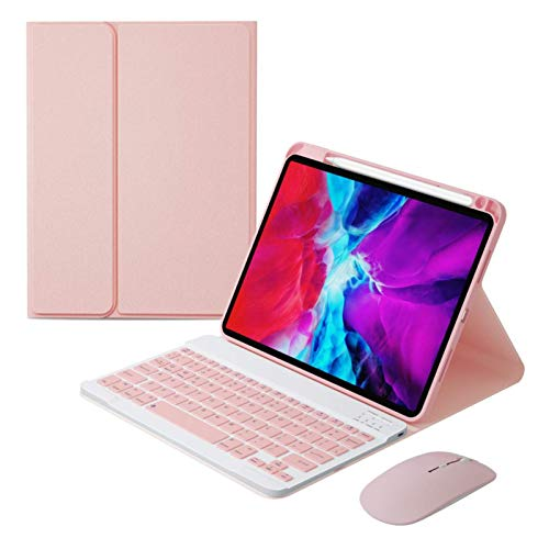 SFSGH Bluetooth Keyboard Case with 2.4G+Bluetooth Mouse for iPad Air4 2020 10.9/iPad Pro11 2020/2018, Removable Keyboard and Mice Protective Covers,Pink