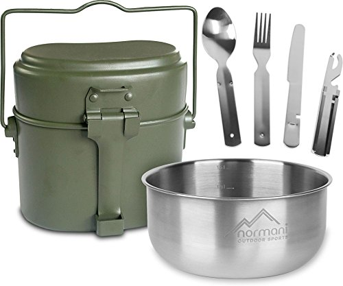 normani Outdoor Geschirrset Essbesteck + Aluminium Kochgeschirr + Schale 18/8 Stahl - rostfrei