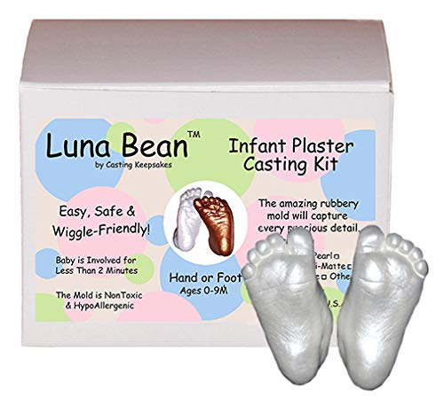 Luna Bean Baby Keepsake Hand Casting Kit - Plaster Hand Mold Casting Kit for Infant Hand & Foot Mold - Baby Casting Kit for First...