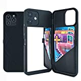 iPhone 12 Case,W7ETBEN Hidden Back Mirror Wallet Case with Stand Feature and Card Holder for Apple iPhone 12 2020, 6.1' (Black)
