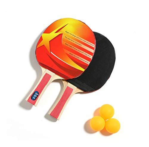TOHOYOK Los niños de la Raqueta de Tenis de Mesa, Juego de Paleta de Ping Pong, Raqueta de Tenis de Mesa 2 y 3 Bolas, Muy Adecuado for Principiantes y la formación, de Mango Largo (Color : Red)