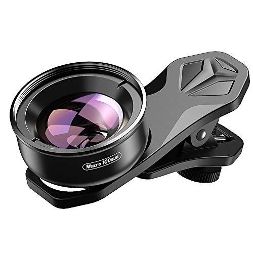 Apexel - Obiettivo macro HD a clip per fotocamera del cellulare, 100 mm, per iPhone X 8 8Plus 7 Plus, Samsung Galaxy S10 S10 Plus, Huawei e la maggior parte degli smartphone