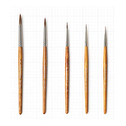 HWAHONG Paint Brush(345series), Pointed Round Brush Set for Detail Work, Sizes of NO. 0,1,2,3,4