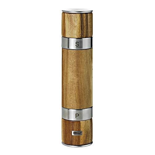 AdHoc MP90 Doppelmühle DUOMILL, für Pfeffer und Salz, Keramik Mahlwerke, Edelstahl/Holz