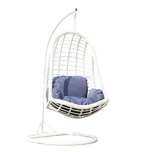 ZHJIUXING SF Hängande korg fritid vit hängande korg rottingstol inomhus balkong vagga stol för hem och trädgård, vit, 197 x 97 cm