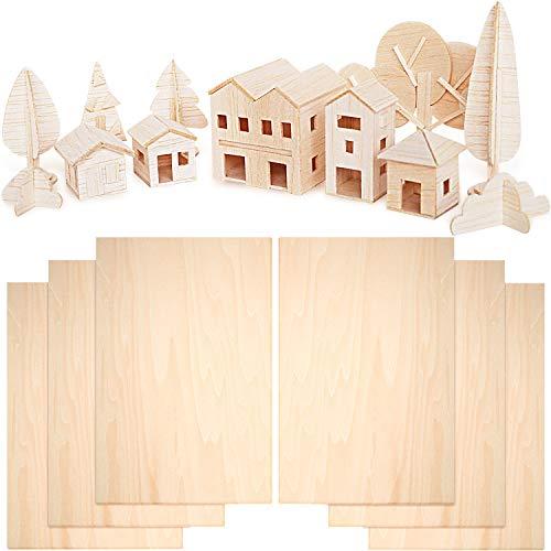 6 Piezas de Hojas de Madera de Balsa de 300 x 200 x 1,5 mm Hojas Finas de Madera de Tilo Tablero de Madera Contrachapada...