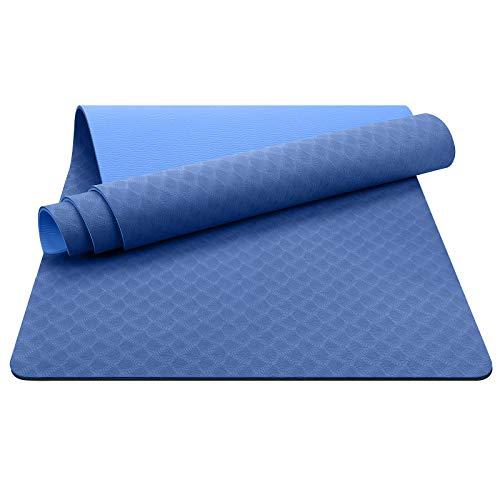 EgoIggo Tappetino Yoga Antiscivolo TPE, Tappetino Palestra per Fitness Pilates e Ginnastica, Yoga Mat 100% Ecologico con Borsa e Cinturino, 181 cm x 61 cm x 0.6 cm (Azzurro)