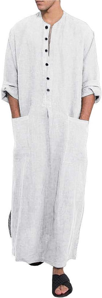Pretifeel Mens Kaftan Thobe Hooded V Neck Cotton Long Grown Ankle Length Side Vents Lounge Robes