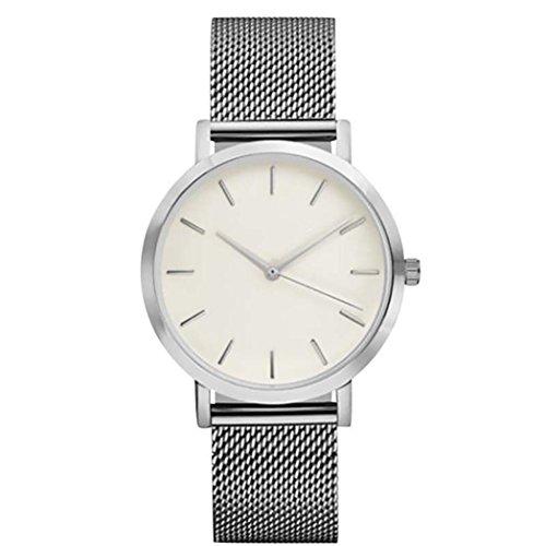 Damen Uhren, Frauen Armbanduhren LeeY Elegante Ultra Dünne Unisex Analoge Quarz Armbanduhr,Edelstahl Kleid Quarzuhr,Einfache Casual Armbanduhr für Frauen Männer mit Mesh-Zone (Silber)