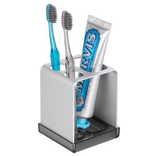 mDesign Zahnbürstenhalter ohne Bohren - Zahnputzbecher mit Platz für Zahnpasta und Aufbewahrung neben dem Waschbecken oder im Badezimmerschrank - Silber/Rauchfarben