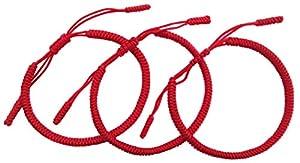 Lucky Buddhist. Set 3 Tibetisches Glücks Armbänder + Anhänger! Handgemacht. Einstellbar für Ihr Handgelenk. Für Männer, Frauen, Teen. Geflochtene Stoff Freundschaftsarmbänder - DREI Rot