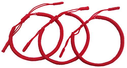 LUCKY BUDDHIST Tibetan Pulseras de la Suerte + Colgante/Collar! Amuletos para Mujeres Hombre Adolescente, tamaño Ajustable. Muñequeras de Amistad, Hecho a Mano de Cuerda (3X Rojo)
