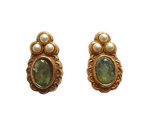 Pequeños y divertidos pendientes de peridoto de color verde oscuro con perlas de agua dulce de plata chapada en oro, hechos a mano, únicos, regalo para Italia, mujeres, chicas, chic