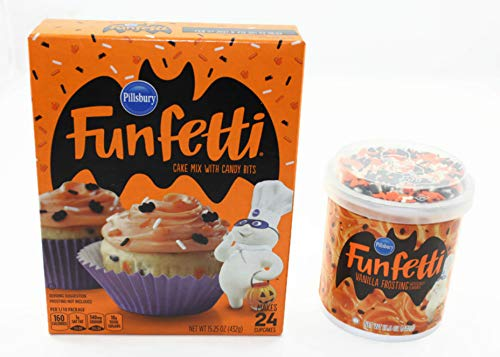 Pillsbury Funfetti Halloween Cake Mix with Candy Bits and Gluten Free Vanilla Frosting for a Fun Filled Halloween Cupcake Baking Event (Bundle)
