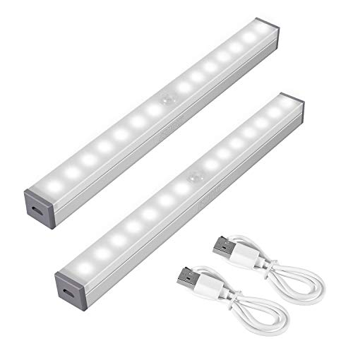 SZMDLX Bewegungs Sensor Schrank Lichter, unter kabinett lichtleiste, USB aufladbar, tragbares kabelloses Nachtlicht mit 14 LED für Schrankschrank, Treppenauflage mit Magnetstreifen (2 Stück)