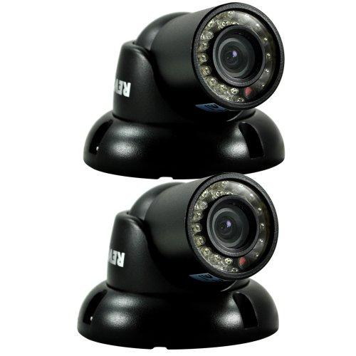 REVO America RCTS30-3BNDL2 700 TVL Indoor/Outdoor Mini Turret Surveillance Camera with 100-Feet Night Vision - 2 Pack (Black)