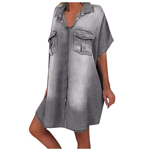 Denim Shirt Dresses for Women Short Sleeve V Neck Distressed Jeans Dress Button Down Casual Boyfriend Tunic Top with Pocket Gray
