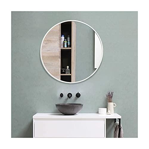 Muzilife Specchio rotondo da 60 cm, con cornice in metallo color argento, specchio da parete in vetro per bagno, spogliatoio o soggiorno
