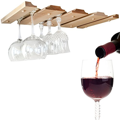 SMITCO Under Cabinet Wine Glass Rack - Storage Holder for Hanging Stemware - Space Saving Unfinished Wooden Bar Organizer Shelf for 12 Glasses or Glassware (Double) - 11 Inches Deep x 20 Inches Wide