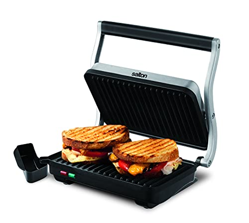 Salton Electric Grill/Panini Press, 710 inch, Stainless Steel,Black