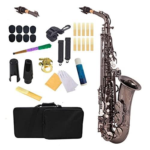Kit para Principiantes Saxo EB Alto Saxofón Latón Lacado Negro Níquel 802 Tecla Tipo De Tecla Instrumento De Viento De Madera con Funda De Transporte Acolchado Guantes