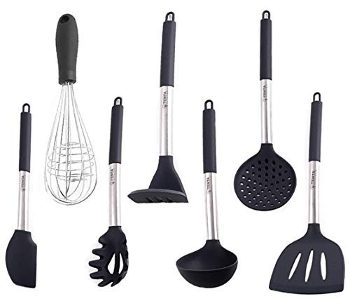TENTA Kitchen Silicone +Strong and Durable Nylon Core Kitchen Utensil Cooking Tools Set of 7 Potato Masher/Soup Ladle Spoon/Skimmer Slotted Spoon Ladle/ Slotted Turner Spatula/Spaghetti server fork/Spatula Batter/Balloon Whisk (7pcs)