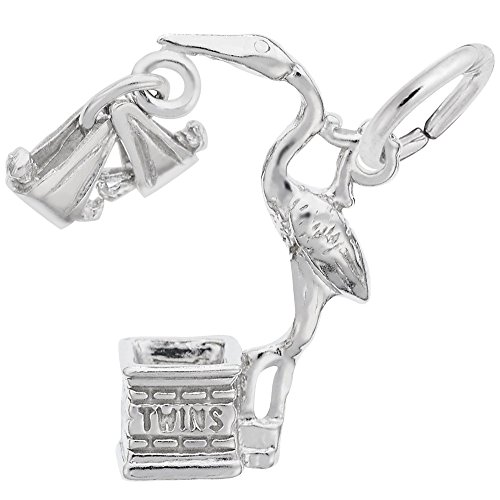 Rembrandt Charms 925 Sterling Silver Stork, Twins Charm Pendant