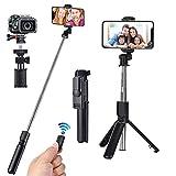 runhua Palo Selfie Bluetooth, Mini Monópode per Móvil Extensible con Obturador Remoto Inalámbrico, 3 en 1 Palo Selfie Trípode para Gopro, Mini Cámara y Móviles 6 Pulgadas