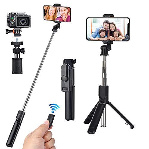 runhua Bastone Selfie Treppiede, Selfie Stick Estensibile con Trepiede per Cellulari e Telecomando Wireless, 3 in 1 Asta Selfie per Cellulare Fino a 6 inch y Piccola Fotocamera