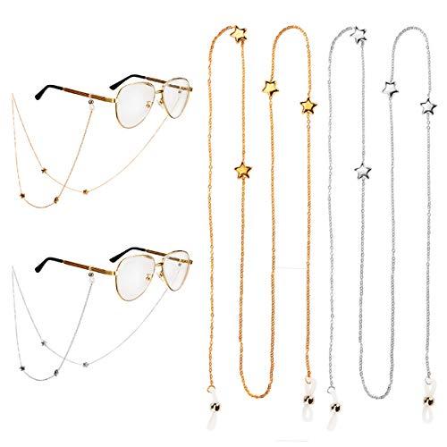 ANPHSINメガネチェーンメガネストラップ2本入りずれ落ち防止眼鏡チェーンシンプルでおしゃれ男女兼用ハイエンド調整可能メガネバンド滑り止めめがね固定可愛い軽量75cm眼鏡コード(1)