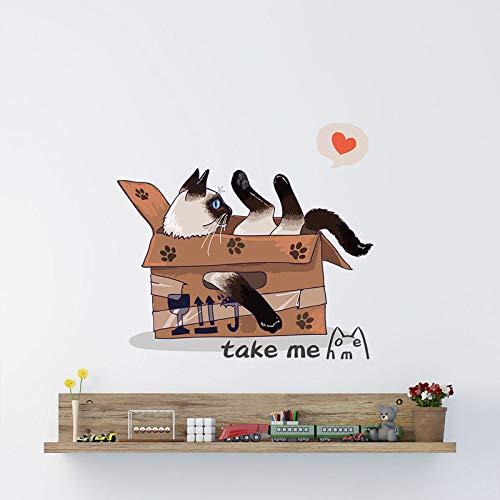 TFOOD Muurstickers, leuke kartonnen kat neem me muurschildering verwijderbare stickers geschikt voor slaapkamer, woonkamer, kinderkamer, doe-het-zelf huishoudtextiel