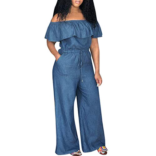 Womens Casual Off Shoulder Ruffle Edge Jumpsuit Rompers Denim Jeans Look Wide Leg Palazzo Cropped Pants Summer Loose Playsuits with Pockets Plus Size