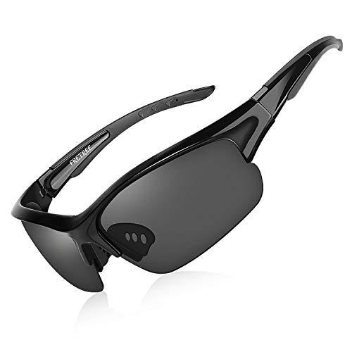 FRETREE Gafas de Sol Deportivas polarizadas, protección UV400 TR 90, con Marco irrompible, Ajustable, para Hombre, Mujer, Ciclismo, conducción, Correr, Pesca, Voleibol de Playa, Golf, Color Negro