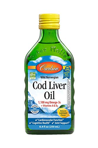 Carlson - Cod Liver Oil, 1100 mg Omega-3s, Liquid Fish Oil Supplement, Wild-Caught Norwegian Arctic Cod-Liver Oil, Sustainably Sourced Nordic Fish Oil Liquid, Lemon, 250 ml