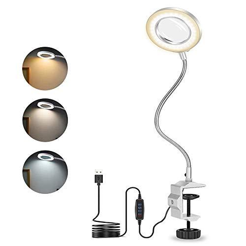 LED-Vergrößerungs-Schreibtischlampe mit Klemme, 3-Farben-Tischlampe mit stufenlos dimmbarem Aufhellen, flexibler Schwanenhals mit Lupenlicht