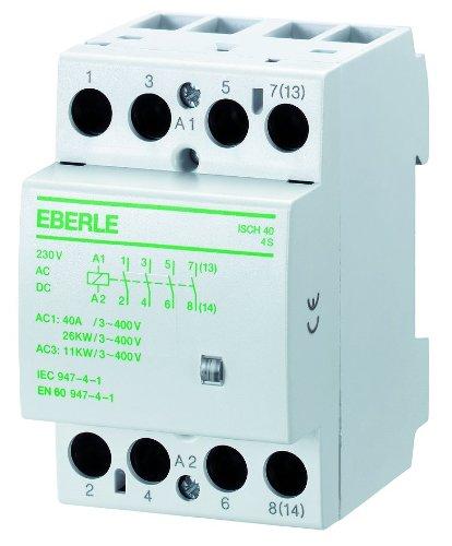Eberle Controls 049088140000 Installationsschütz ISCH 40/63 (brummfrei, lange Lebensdauer, AC 230 V, 40 A, 4 S, Maße: 54 x 85 x 58 mm)
