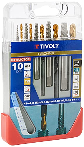TIVOLY 11901170052 - Juego Extractor de clavos TECHNIC Juego completo para la extracción de pernos rotos: extractores de perforación + 1: Ø2,5/2: ø3.2/3: Ø4.8/4: Ø6,5/5: Ø8 mm (Envase de 10 pz.)