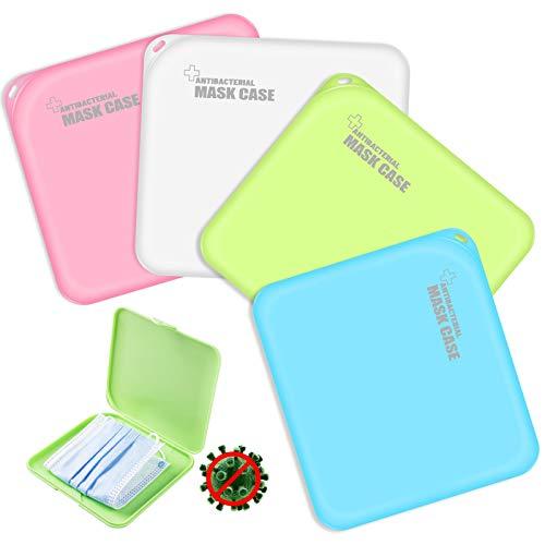 Maskenbox 4 Stück Tragbare Masken Aufbewahrungsbox Masken-Aufbewahrungstasche Maskenbox für Mundschutz 4 Farben (Rosa, Grün, Weiß, Blau)