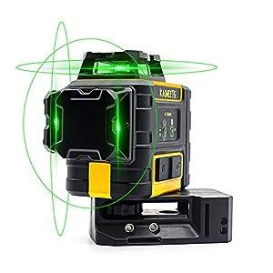 3D Nivel Láser Verde, KAIWEETS 3X360° Nivel Láser Autonivelante, 30m Nivelador láser, Hasta 70m Modo de Pulso, 2 Baterias recargabables Hasta 40 horas, IP54, Base Magnética, Bolso